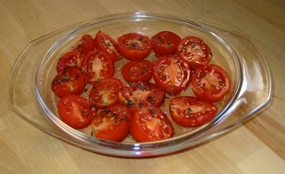 Slightly tired tomatoes, pre-cooking